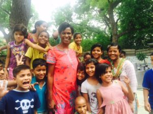 India Ros with kids